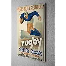 Plaque Émaillée Retro Déco Joueur de rugby balle 20X30 cm