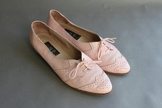 1980s leather oxford flats | Vintage Shoes / 1980s Pink Leather Brogues / 80s Wingtip Oxford Flats