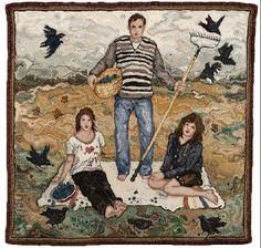 The Picnic by fiber artist Rachelle LeBlanc rug hooking technique