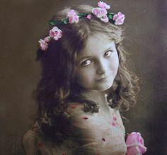 Antique rose girl photo postcard, vintage flower girl photo postcard, French pretty girl photo postcard, RPPC,