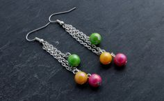 Beaded Chain Dangle Earrings. by CharmingThreadwares on Etsy, £5.99