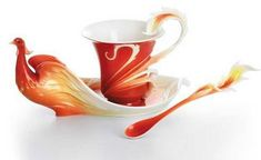Franz Collection Phoenician Flight Bird Porcelain Cup, Saucer & Spoon Set - even prettier in person! Tea Cup Set, Cup And Saucer Set, Tea Cup Saucer, Tea Sets, Teapots And Cups, Teacups, Tea Service, Fine Porcelain, Coffee Cups