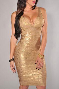 $99.99 | Gold V-neck Foil Detail Crisscross Bandage Dress