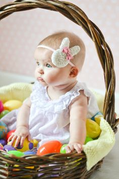 The perfect Easter headband!! An adorable white chiffon rosette bunny head is accented with a pink iridescent sequin bow, and comes attached to a pink 1/4 skinny elastic headband that is backed with felt for comfort. Perfect as a newborn photo prop or for photos with the Easter Bunny!! Indicate size and color when ordering. Sizes are as follows: Newborn: 13 0 - 3 mths: 13.5 3 - 6 mths: 14.5 6 - 12 mths: 16 12 mths to teen: 17 Adult: 18 Also available in Pink, Lavender, and Yellow!! Se...