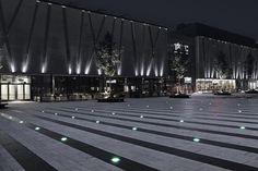 Täby Torg,© Wichmann + Bendtsen Landscape Elements, Contemporary Landscape, Urban Landscape, Landscape Architecture, Landscape Design, Architecture Design, Driveway Lighting, Facade Lighting, Lighting Design