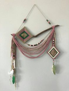 Boho decor, rustic home decor, modern farmhouse, ojo de dios Always wanted to discover ways to knit, yet unsure how to start? That Complete Beginner Knitting String is exactly what . Hippie Home Decor, Bohemian Decor, Weaving Loom Diy, Ribbon Yarn, Weaving Projects, Woodland Nursery Decor, Spiritual Gifts, String Art, Wooden Beads