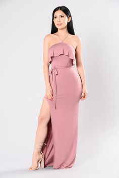 - Available In Rose - Ruffle Front Detail - Halter Neckline - High Slit Detail - Made in USA - 96% Polyester 4% Spandex