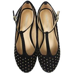 Marais BACK IN STOCK! T-Strap Stud Flats found on Polyvore