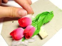 """Заколка для волос из полимерной глины """"Розовые тюльпаны"""""""