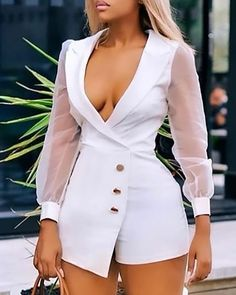 Notched Collar Sheer Mesh Insert Long Sleeve Buttoned Blazer Romper - How To Be Trendy Classy Dress, Classy Outfits, Sexy Outfits, Stylish Outfits, Girl Outfits, Chic Dress, Summer Outfits, Suit Fashion, Look Fashion