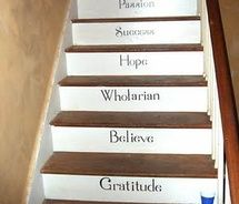 Bright As Yellow: Decorative and Painted Stairs Painted Stairs, Painted Floors, Painted Houses, Stair Renovation, Stair Risers, Fruit Of The Spirit, Stair Storage, Basement Stairs, Stairway To Heaven