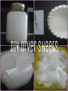 DIY Dryer Sheets - I have allergies from the perfume in fake ones. make your own NATURAL fabric softener & then make your own NATURAL dryer sheets out of it! Homemade Cleaning Supplies, Cleaning Recipes, Cleaning Hacks, Diy Hacks, Cleaning Solutions, Homemade Products, Cleaning Schedules, Diy Products, Soap Recipes