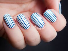 ALS Awareness Pinstripe Nail Art by @chalkboardnails . I donated via alsa.org, you can too!