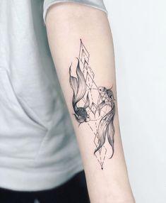 Koi von Nothing Wild - Tattoo - Pisces Tattoo Designs, Koi Tattoo Design, Tattoo Designs For Women, Tattoos For Women Small, Small Tattoos, Dream Tattoos, Time Tattoos, Foot Tattoos, Body Art Tattoos