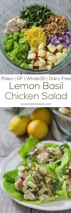 Paleo Lemon Basil Chicken Salad Lettuce Wraps - a light and healthy lunch recipe that is gluten free, paleo and dairy free! (Whole 30 Recipes Lunch) Healthy Prawn Recipes, Healthy Food List, Healthy Eating For Kids, Heart Healthy Recipes, Paleo Recipes, Healthy Lunches, Healthy Chicken, Chicken Recipes, Lunch Snacks