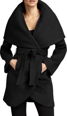 $195, Black Coat: T Tahari Marla Wrap Coat. Sold by Neiman Marcus. Click for more info: https://lookastic.com/women/shop_items/108654/redirect