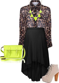 """neon/leopard"" by elise-shane on Polyvore"