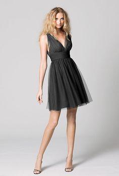 Brides.com: Black Bridesmaids Dresses We Love. Black Bridesmaid Dress: Wtoo. V-neck cocktail dress, style 333, Wtoo  See more short bridesmaid dresses.  Shop this look at Weddington Way.