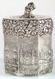 Vintage Silver Tea Caddy...High Society Tea