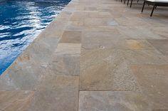Russet Sandstone Select Sawn Edge Paving #stonepaving #stonesupplier #landscapestone  #stoneflooring #patiostone #sandstone #pool
