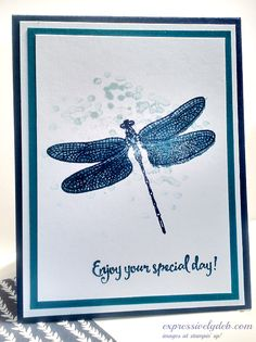 Stampin Up Dragonfly dreams Handmade Birthday Cards, Greeting Cards Handmade, Stampin Up Anleitung, Karten Diy, Bee Cards, Butterfly Cards, Monarch Butterfly, Stamping Up Cards, Tampons