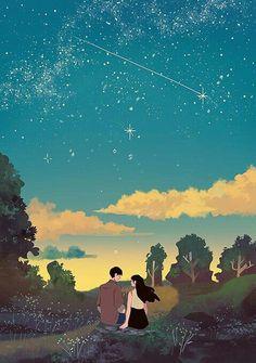The Art Showcase Cute Couple Drawings, Cute Couple Art, Cute Drawings, Anime Love Couple, Aesthetic Art, Aesthetic Anime, Couple Illustration, Illustration Art, Stock Design