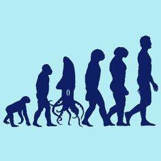 Evolution of Man Squid Shirt - Funny Shirts By Lonely Dinosaur - LonelyDinosaur Dinosaur Design, Funny Puns, Darwin, Lonely, Funny Shirts, Evolution, Creatures, Thankful, Animals
