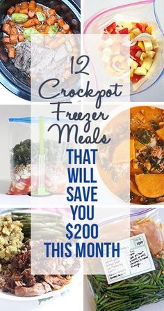12 Crockpot Freezer Meals that will save you a bunch of money and help you get organized!