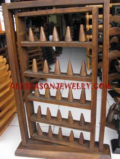 Woods Rings Displays - wooden finger ring displays with large size made in bali, bali wood ring display jewelry handmade wholesaler Market Stall Display, Vendor Displays, Craft Fair Displays, Ring Displays, Store Displays, Jewelry Booth, Jewelry Display Box, Jewellery Storage, Bracelet Display