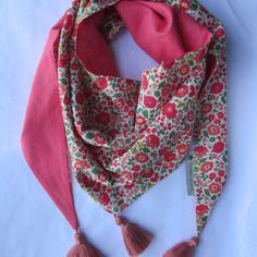 Chèche ou foulard liberty d'anjo rouge et corail