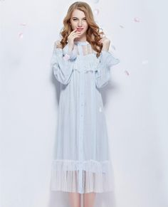 Nightgown Lace Bathrobe Round Neck long-sleeve Sleepwear Dress $66.42 => Save up to 60% and Free Shipping => Order Now! #fashion #woman #shop #diy www.homeclothes.n...