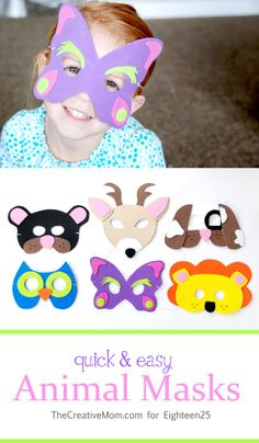 eighteen25: Quick & Easy Animal Masks; http://eighteen25.blogspot.com/2013/10/quick-easy-animal-masks.html