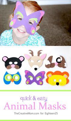 Quick & Easy Animal Masks; http://eighteen25.blogspot.com/2013/10/quick-easy-animal-masks.html