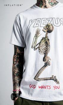 Best Version  Yeezus Tour Kanye West yeezy Merch Indian Headdress Skull red letter short sleeve t shirt tee HBA pyrex vision