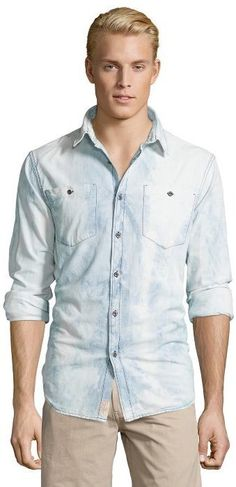 $41, Jachs Light Blue Acid Washed Cotton Chambray Button Front Shirt. Sold by Bluefly. Click for more info: https://lookastic.com/men/shop_items/396102/redirect