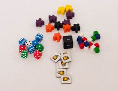 Hero's Crossing has a bunch of components - we have your meeples and your dice, your cubes and chits, your cards and tiles (120 of those!). Unpacking a new board game is half the fun. ;) #boardgames Dice, Cubes, Board Games, Hero, Fun, Tabletop Games, Table Games, Hilarious