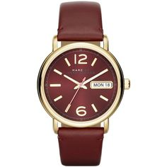 Marc by Marc Jacobs Red Canyon Leather Fergus Strap 38MM (400 BAM) ❤ liked on Polyvore featuring jewelry, watches, accessories, relojes, buckle watches, red dial watches, clear jewelry, dial watches and marc by marc jacobs watches