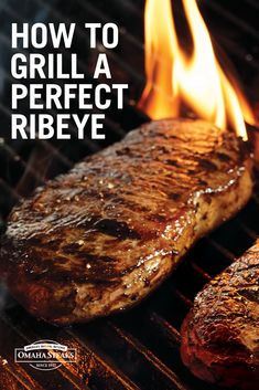 Grill the perfect, juicy ribeye with our complete ribeye grilling guide. Tips for seasoning your steak, prepping the grill and complete cooking chart with times for desired doneness based on steak thickness. View our tips now. Grilled Steak Recipes, Grilling Recipes, Beef Recipes, Grilling Tips, Grilled Meat, Game Recipes, Recipies, How To Cook Ribeye, Cooking Ribeye Steak