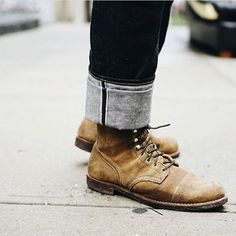 """redwingshoestoreamsterdam: """"Regram of rocking the Iron Ranger 8113 Hawthorne Muleskinner today with big denim cuffs! This pair looks incredible! Old Man Fashion, Mens Boots Fashion, Denim Boots, Jeans And Boots, Denim Jeans, Red Wing Shoe Stores, Red Wing Iron Ranger, Kanye West And Kim, Red Wing Boots"""