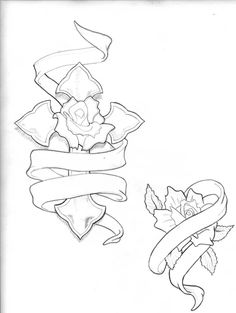 Rose Drawings With Ribbon images Sketch Tattoo Design, Tattoo Sketches, Art Drawings Sketches Simple, Pencil Art Drawings, Rose Drawing Tattoo, 1 Tattoo, Body Art Tattoos, Dark Fantasy, Gothic Fantasy Art