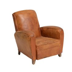 Ronaldo Leather Chairs at Found Vintage Rentals. Distressed brown leather chair with four wooden legs. Perfect for a cigar area or lounge set.