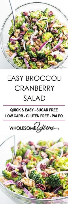 Easy Broccoli Cranberry Salad Recipe with Bacon and Walnuts - Even if you know h. Easy Broccoli Cranberry Salad Re. Salad Recipes With Bacon, Cranberry Salad Recipes, Salad Recipes Low Carb, Salad Recipes Video, Bacon Recipes, Salad Dressing Recipes, Paleo Recipes, Real Food Recipes, Bacon Salad