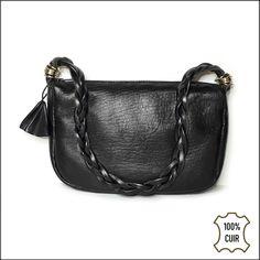 65bec445d2 Petit sac en cuir noir pour femme - Sac cuir porté épaule - Sac anse tressée