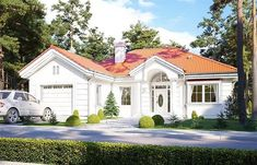 projekt Dom na Parkowej 2 WAH1845 Small Villa, Classic House Exterior, Tree House Designs, Solar Installation, Built In Wardrobe, Large Homes, Cladding, Ground Floor, House Plans