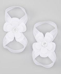 Loving this White Rhinestone Flower Barefoot Sandal on #zulily! #zulilyfinds