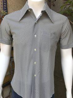 c94b94409 Infi-Nit Polyester Men's 70s Disco Shirt/ Short Sleeve Men's Shirt/ 70s Mens