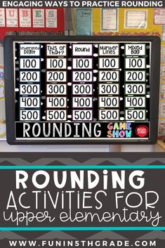 Teaching rounding can be tricky, especially if your students don't have a firm grasp on it! This blog post includes tips and activities on how to teach rounding in the upper grades and includes a FREEBIE to help you! Angie from Fun in 5th grade describes how she introduces and teaches rounding using anchor charts, number lines, post it notes, games and more! Rounding Activities, Fun Math Games, Number Games, Classroom Games, Powerpoint Games, Fact And Opinion, Math Strategies, Review Games, Test Prep