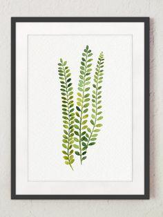 Helecho pintura imprimir acuarela verde hoja Resumen Set de 4