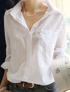 casual loose fitting button down