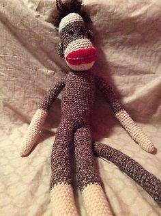 "#CrochetSockMonkey Handmade Big Sock Monkey 32"" With Legs Long Arms, legs, and Tail (23)"